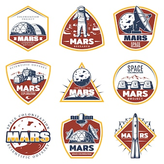 Étiquettes d'espace vintage colorées avec inscriptions exploration de mars