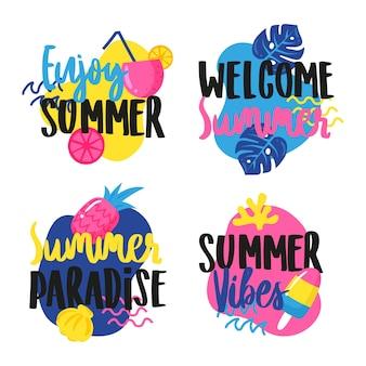 Étiquettes d'été design dessinés à la main