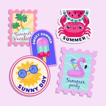 Étiquettes d'été dessinées à la main