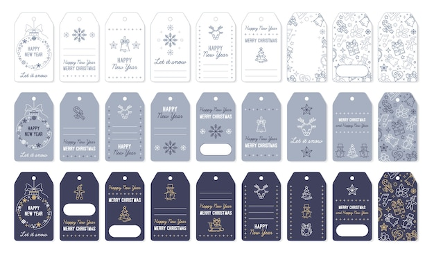 Étiquettes et étiquettes de noël pour les cadeaux du nouvel an