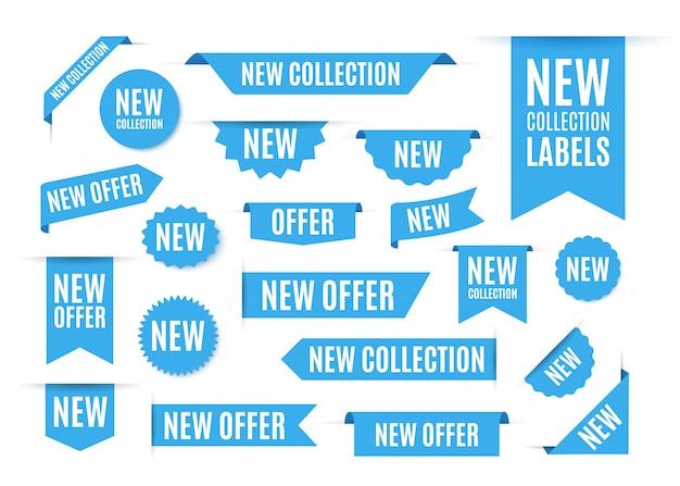 Étiquettes et étiquettes d'offre de nouvelle collection.