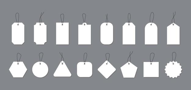 Étiquettes et étiquettes de prix blanches vides pour la conception de la promotion.