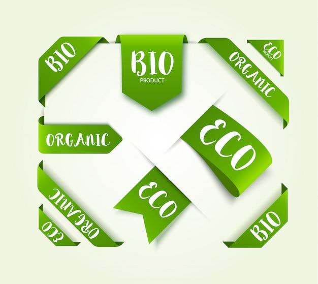 Étiquettes d'étiquettes vecteur bio eco.