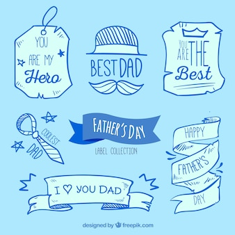 Étiquettes faites à la main pour le jour du père