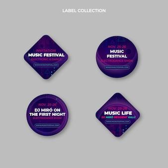 Étiquettes de festival de musique en demi-teinte dégradé