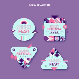 Étiquettes de festival de musique en mosaïque design plat