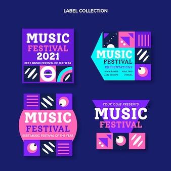 Étiquettes de festival de musique en mosaïque plate
