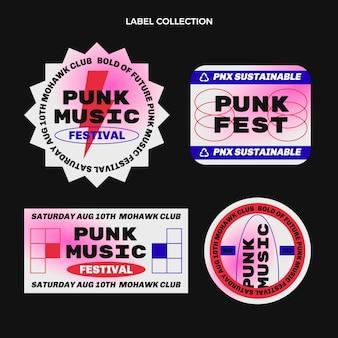 Étiquettes de festival de musique nostalgique des années 90 au design plat