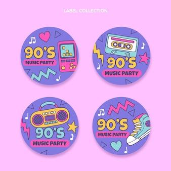 Étiquettes de festival de musique nostalgique des années 90 dessinées à la main