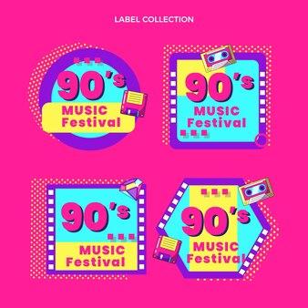 Étiquettes de festival de musique nostalgique design plat