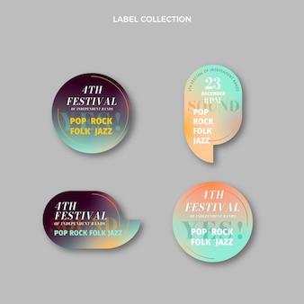 Étiquettes de festival de musique à texture dégradée