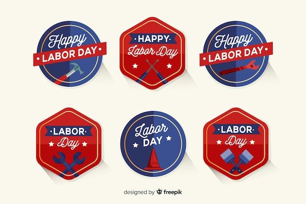 Étiquettes de la fête du travail dans le style dessiné à la main