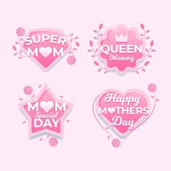 Étiquettes de fête des mères design plat