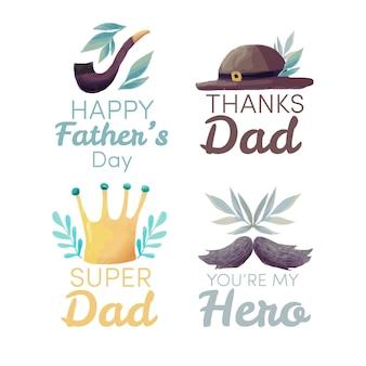 Étiquettes de fête des pères aquarelle