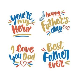Étiquettes de fête des pères design dessinés à la main