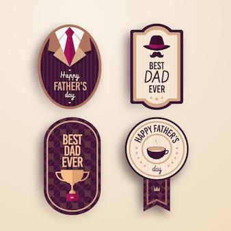 Étiquettes de fête des pères design plat