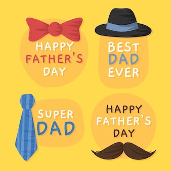 Étiquettes de fête des pères dessinés à la main