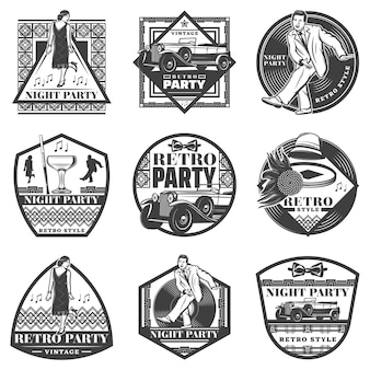 Étiquettes de fête rétro monochrome vintage sertie de gens qui dansent voiture classique accessoires féminins wineglass disque vinyle isolé
