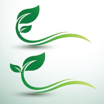 Étiquettes de feuilles vertes