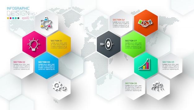Étiquettes de filet hexagone affaires forme barre infographique.