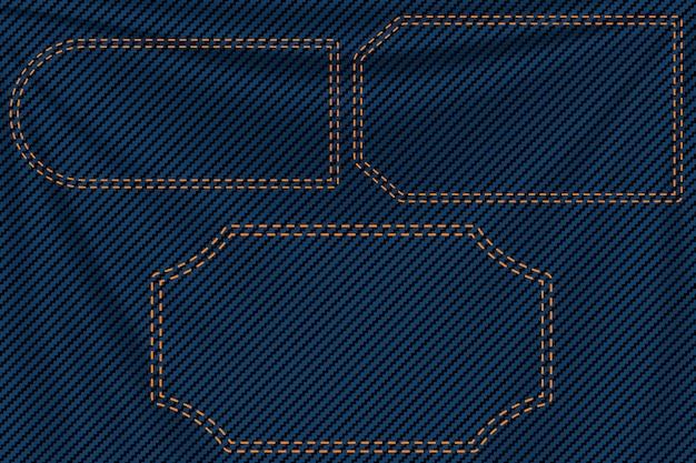 Étiquettes de fond en denim bleu
