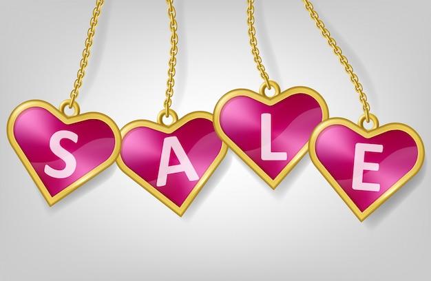 Étiquettes en forme de coeur rose avec texte vente