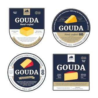 Étiquettes de fromage gouda de vecteur et éléments de conception d'emballage
