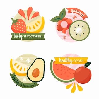 Étiquettes de fruits design plat