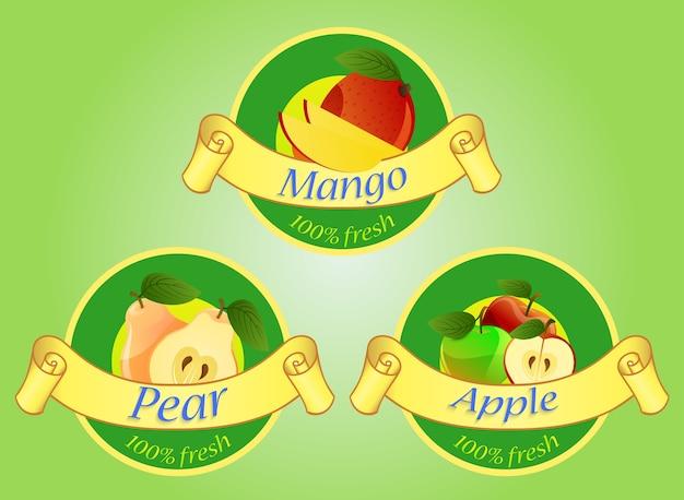 Étiquettes de fruits isolés sur fond vert