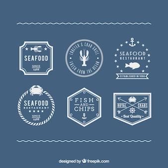 Étiquettes de fruits de mer dans le style rétro
