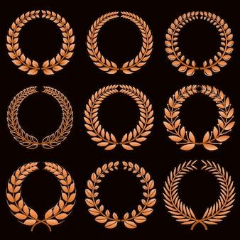 Étiquettes gagnantes avec jeu de couronnes de laurier d'or