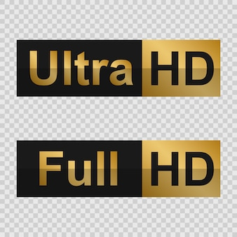 Etiquettes golden full hd et ultra hd. signe de la technologie moderne