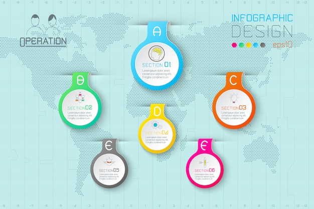 Étiquettes de goutte d'eau business forme infographique sur la carte du monde.