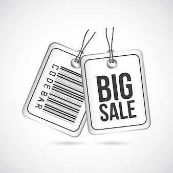 Étiquettes de grande vente sur illustration vectorielle fond gris