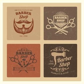 Étiquettes grunge vintage barber shop