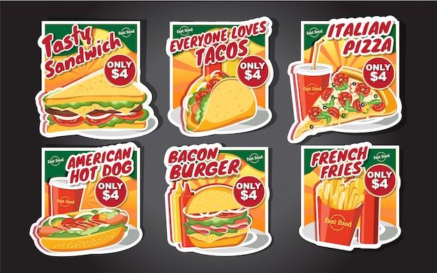 Étiquettes de hamburger de restauration rapide