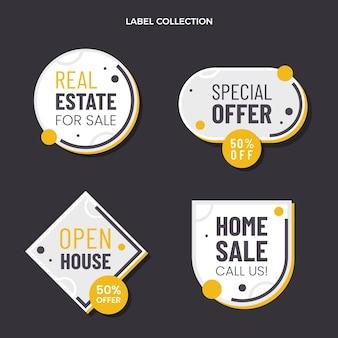Étiquettes immobilières géométriques abstraites design plat