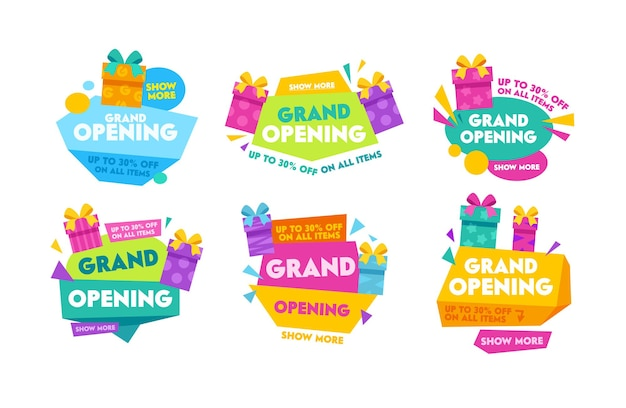 Étiquettes et insignes d'inauguration avec typographie colorée, coffrets cadeaux de dessin animé et formes géométriques. conception de collection de modèles pour affiches promotionnelles, bannières publicitaires, illustration vectorielle de flyers publicitaires