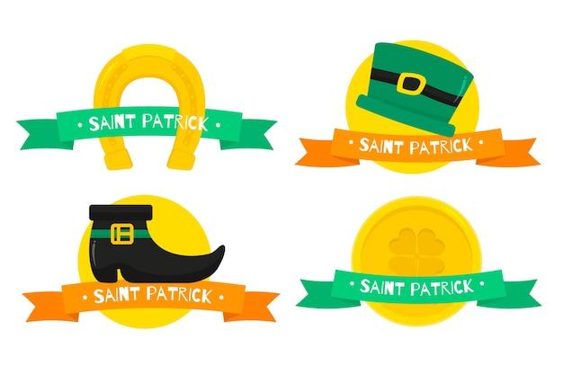 Étiquettes et insignes de la saint-patrick avec des pièces d'or