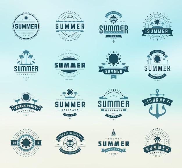 Étiquettes et insignes de vacances d'été design rétro typographie