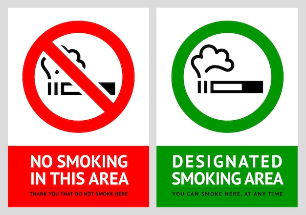 Étiquettes d'interdiction de fumer et de zone fumeurs