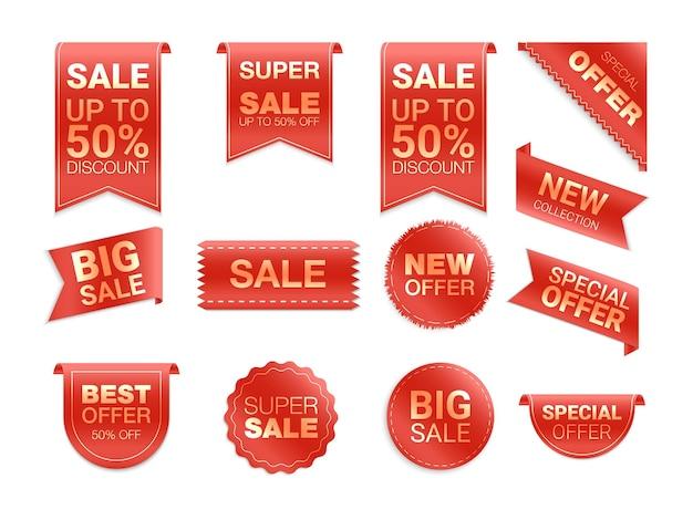 Étiquettes isolées sur fond blanc. promotion de vente, autocollants de site web, nouvelle collection de badges d'offre. remise de badges plats et étiquettes. meilleur choix de balises.