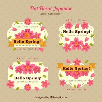 Étiquettes japonais vintage avec des fleurs roses