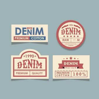 Étiquettes de jeans denim classiques
