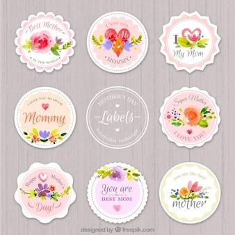 Les étiquettes de jour aquarelle arrondie mère