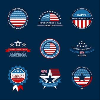 Étiquettes de jour de l'indépendance ou badges