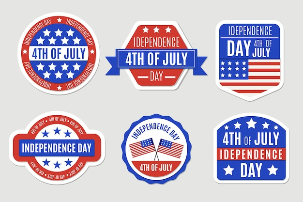 Étiquettes de jour de l'indépendance design plat
