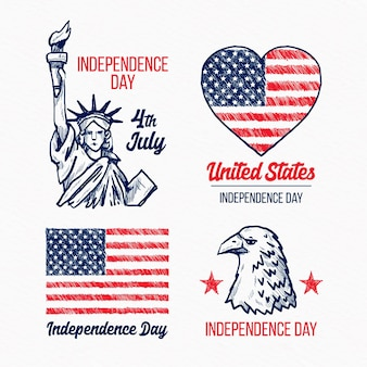 Étiquettes de jour de l'indépendance du 4 juillet dessinées à la main
