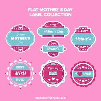 Les étiquettes de jour de rose et bleu mère