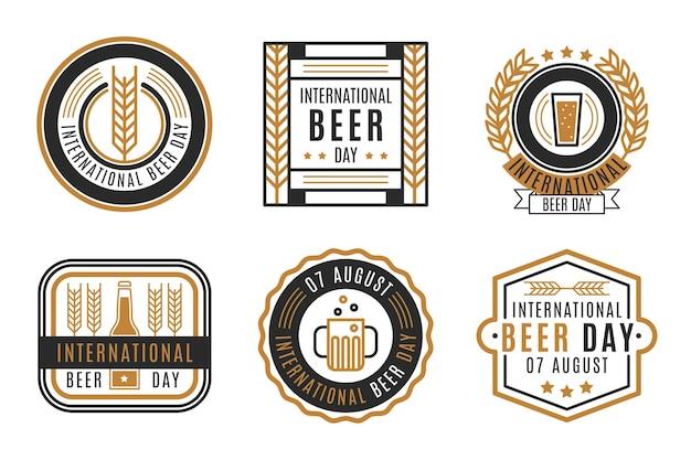 Étiquettes de la journée internationale de la bière au design plat